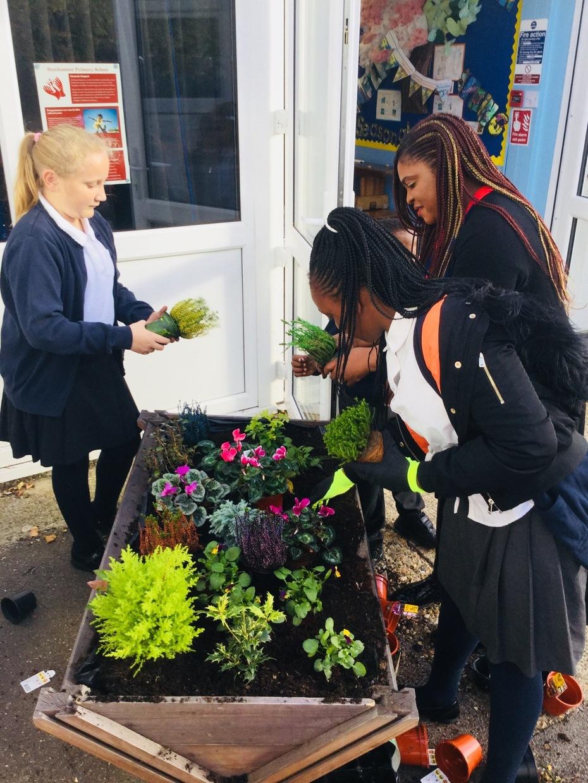 Children and parent planting