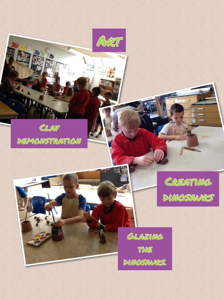 Art - making clay dinosaurs