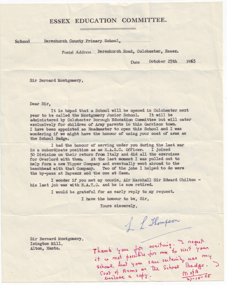 Letter to the Viscount Montgomery of Alamein