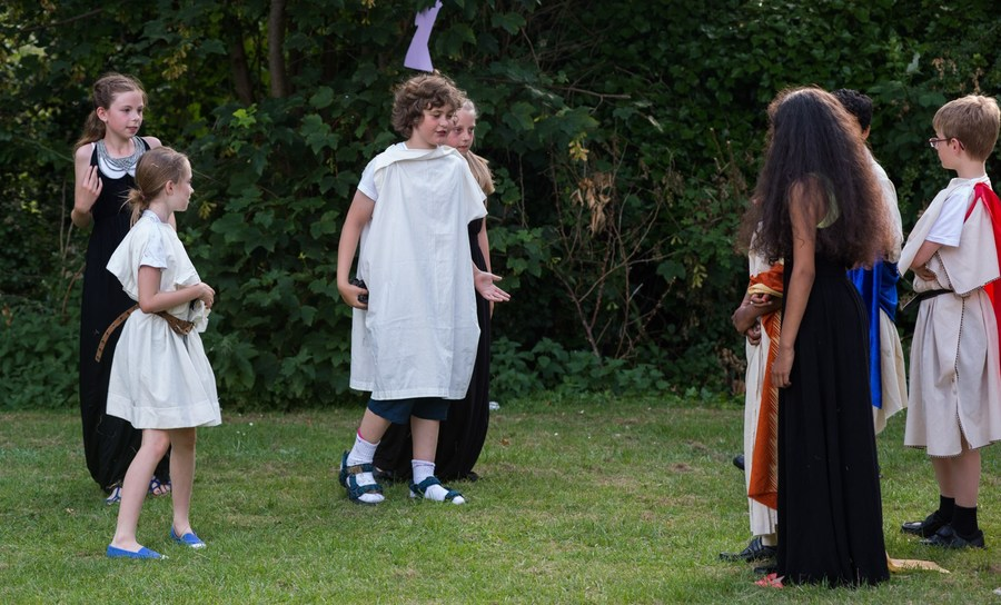 A Midsummer Night's Dream performed by Leopard class on the school field.