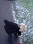 Here is one of the children checking the morning frost to see if it is slippery.
