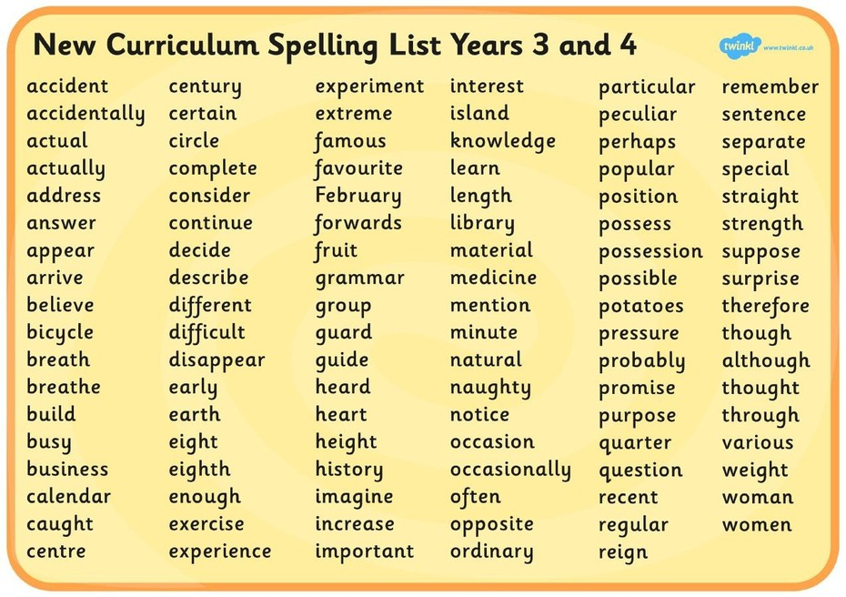 Image result for year 3 and 4 spelling list