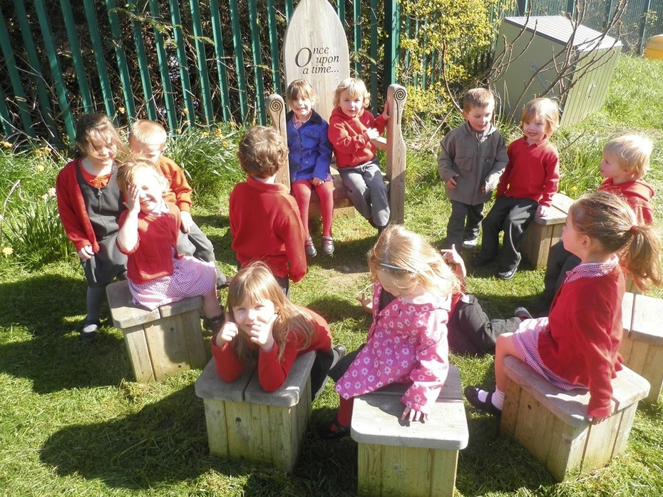 Children in outside story area