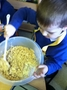 We used melted white chocolate and rice crispies to make snow cakes!