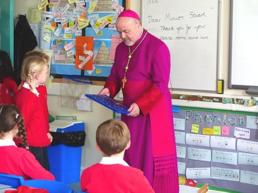 Year 3 children presentation to Bishop Marcus