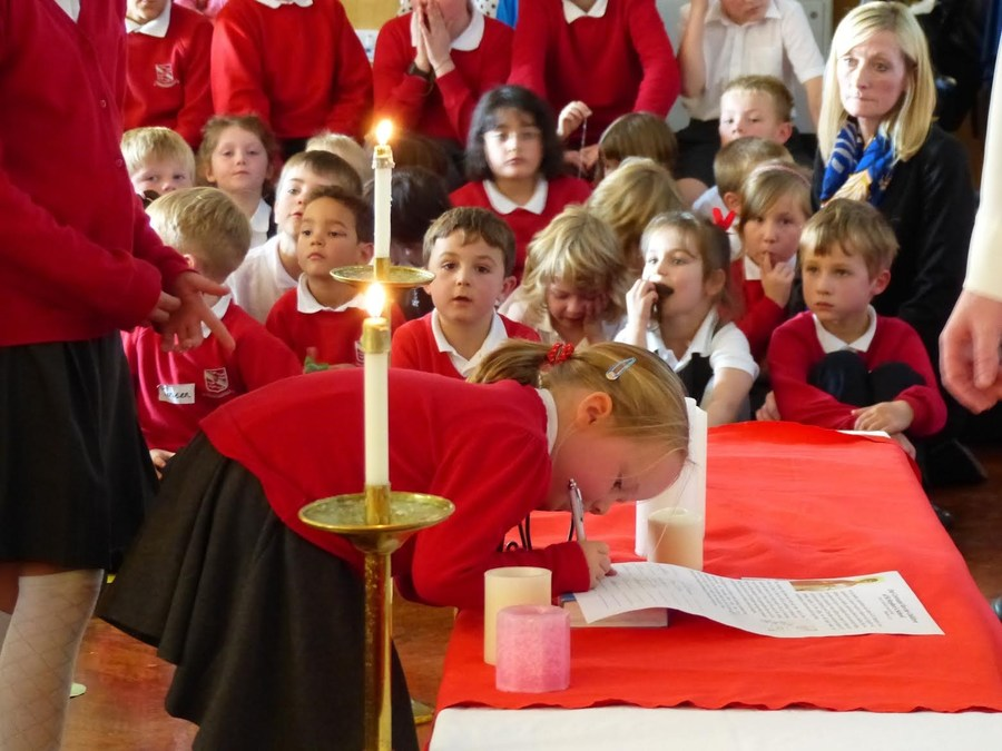 Pupils signing The Covenant