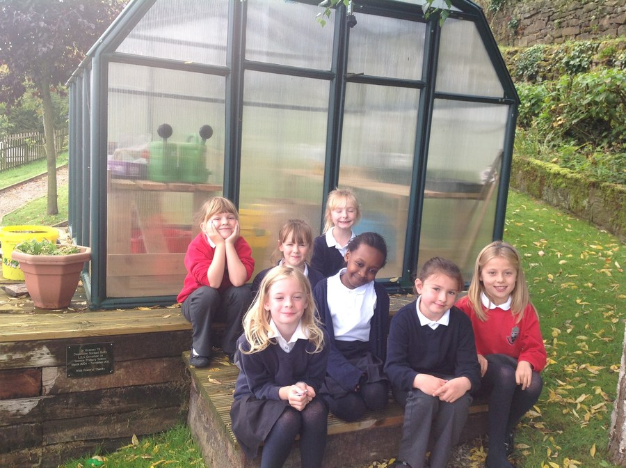 Outside the new greenhouse