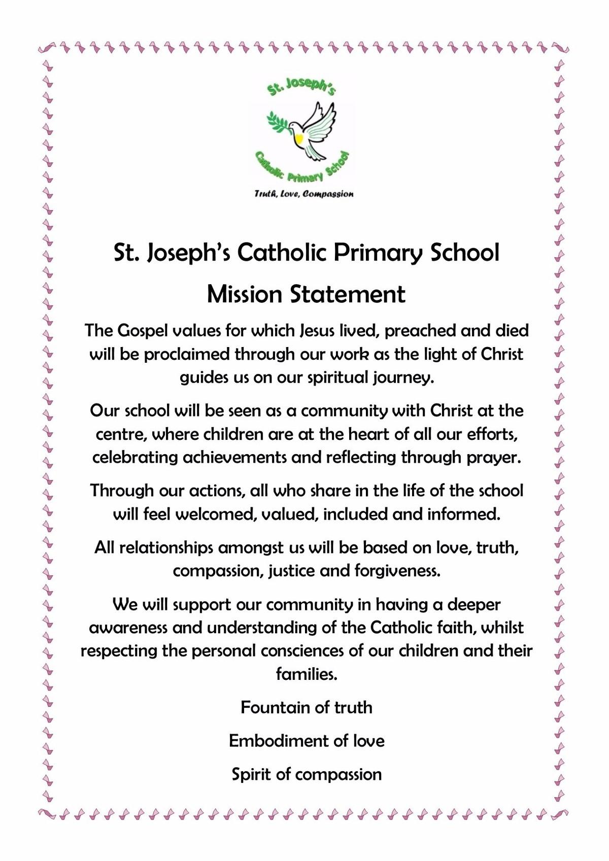 st joseph s catholic primary school mission statement