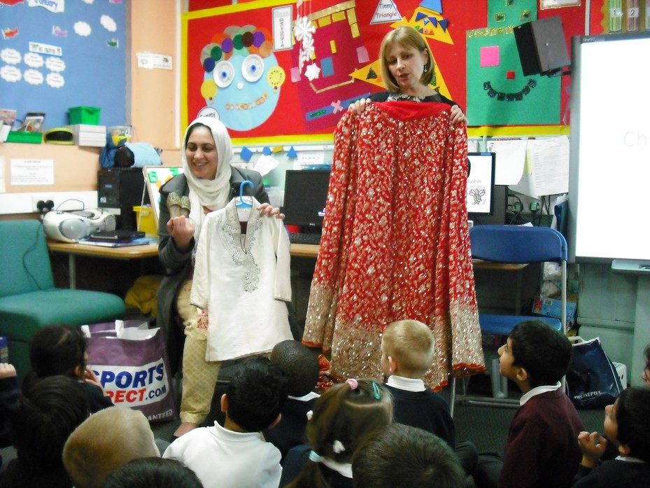 Hasnain's Mum brought in her wedding dress.