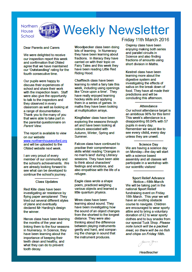 Northern House School (Oxford) - Newsletters - Archived 15/16