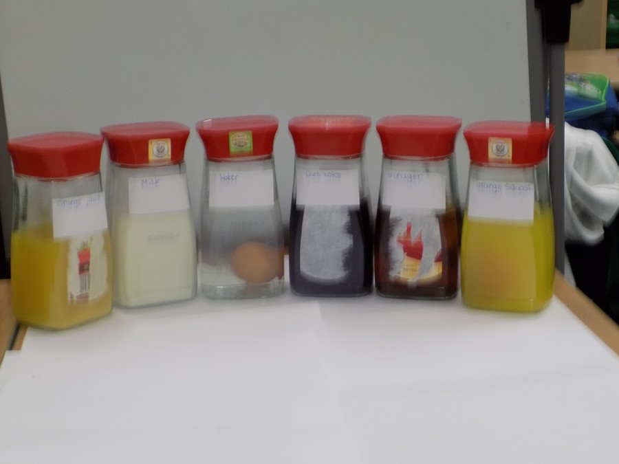Which liquid will do the most damage to the egg shells?