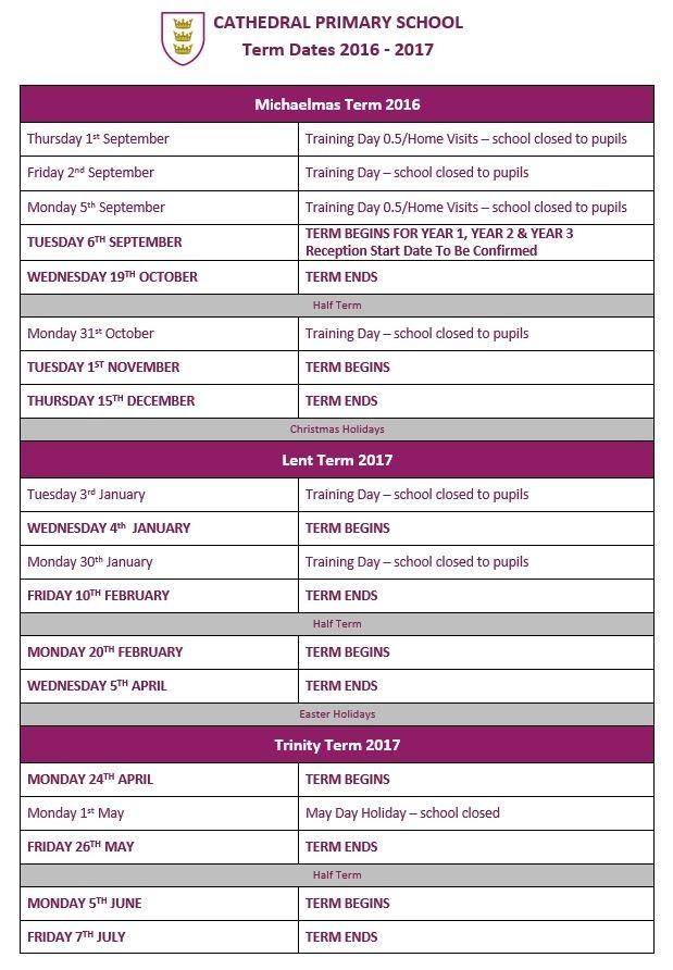 2016-2017 Term Dates