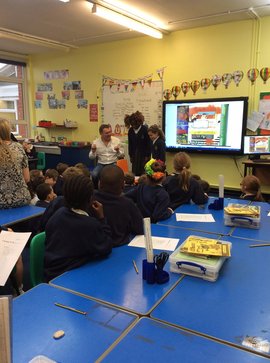 Year 3 and 4 working with the poet, Ian Bland