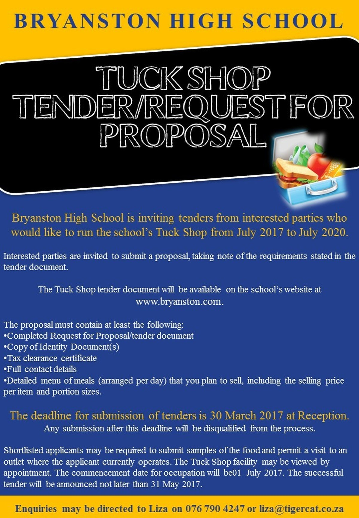 high school tuckshop tuckshop tender document here