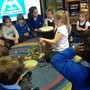 Making monster sounds using percussion instruments