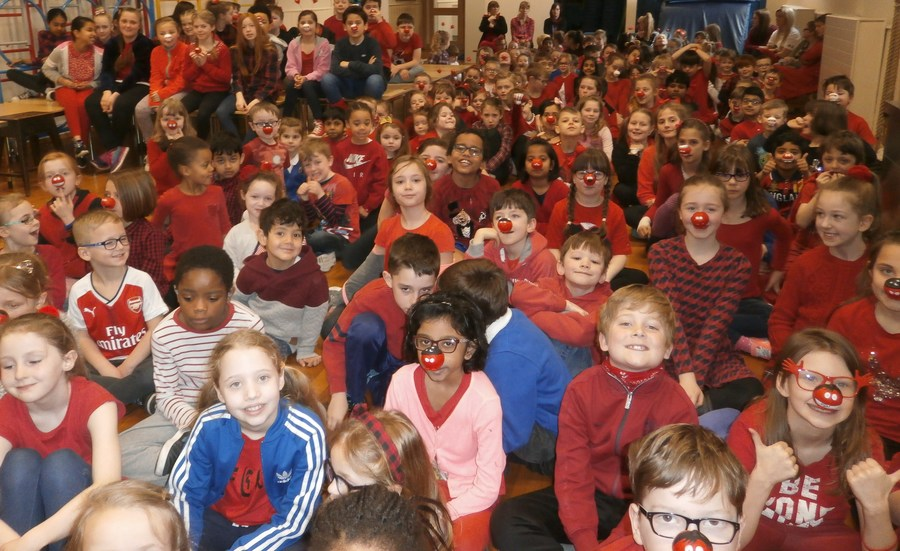 We raised £164:39 for Comic Relief by wearing red clothes and/or a red nose.
