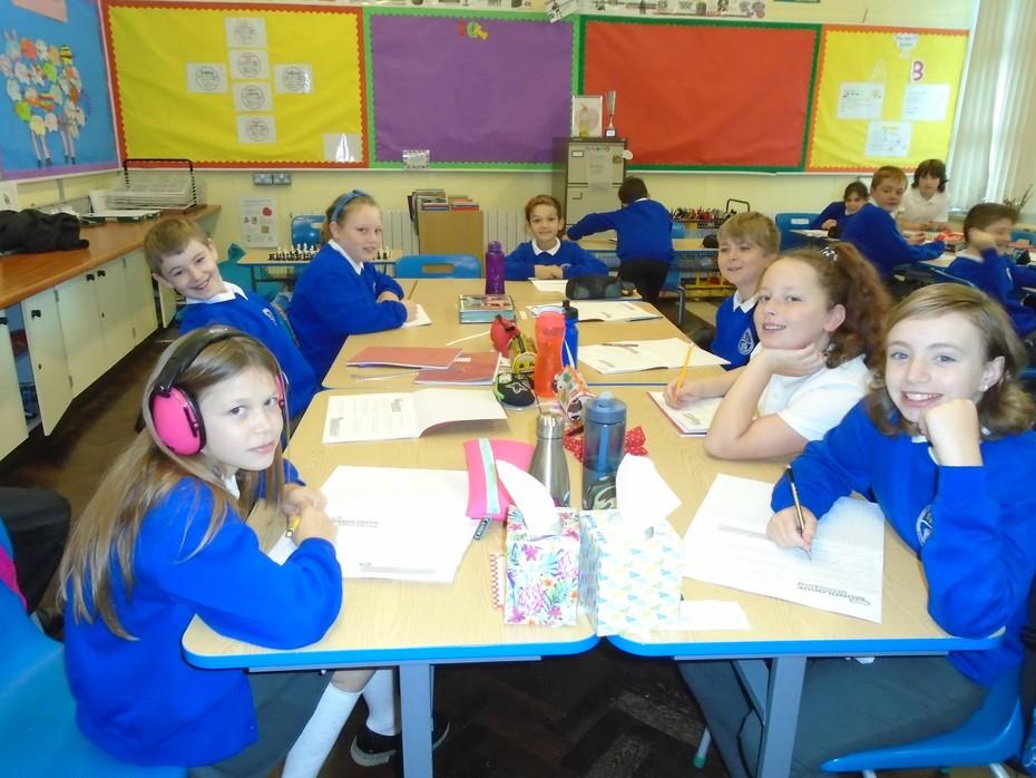 P7 children working hard!