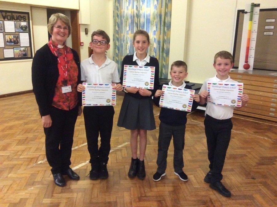 Rev Kathryn presenting school awards