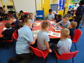 Year 5 came to Reception class<p> on 4.10.17- 'No Pens' day.</p>
