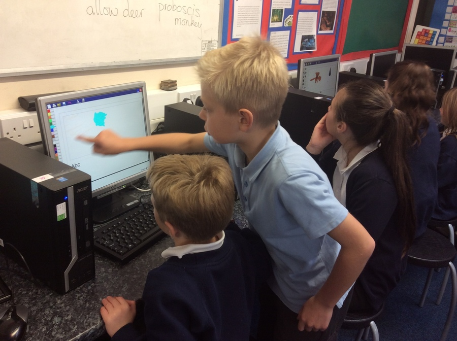 Class 6 helped us to type and draw on our first trip to the Computer Suite.