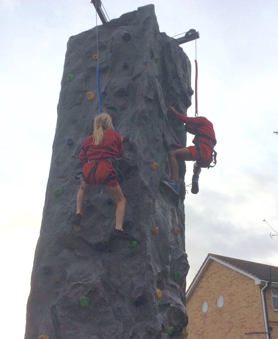 Year 4 on the climbing wall.