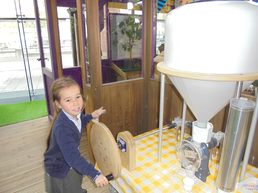 Using friction to make flour.