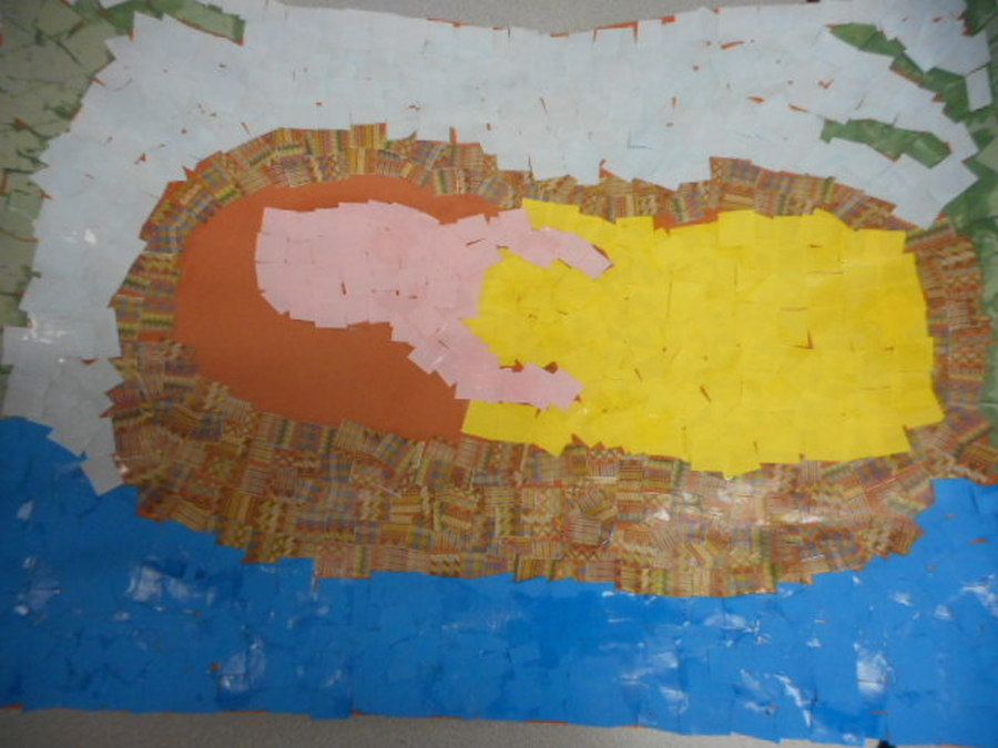 We made a mosaic picture of baby Moses.