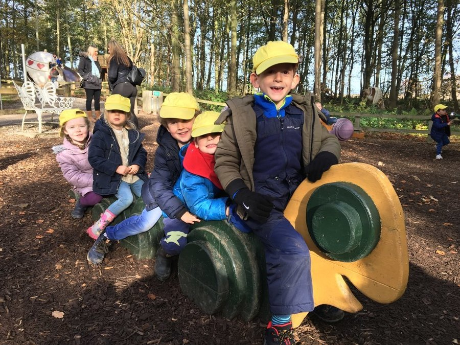 Reception children enjoying their visit to Stockeld Park