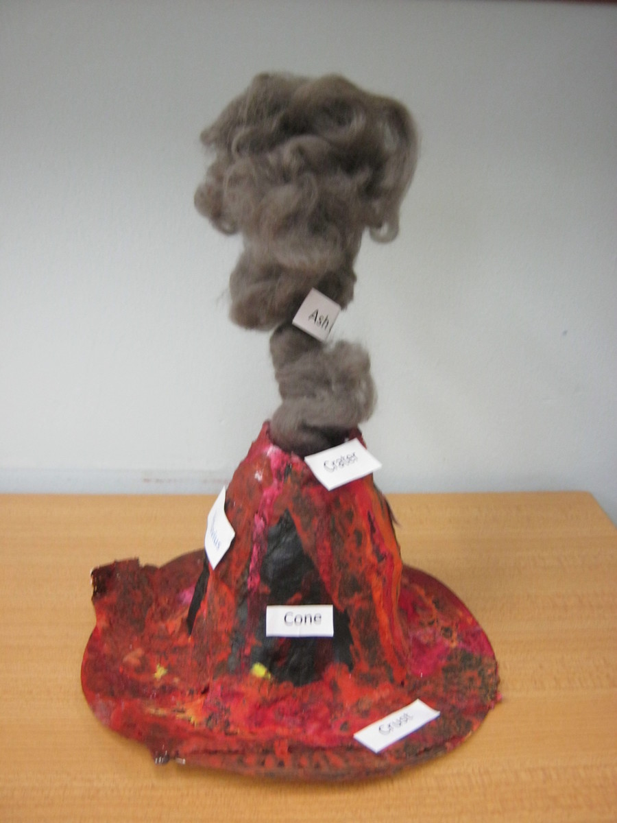 Louis made a  model Volcano and labelled all the parts