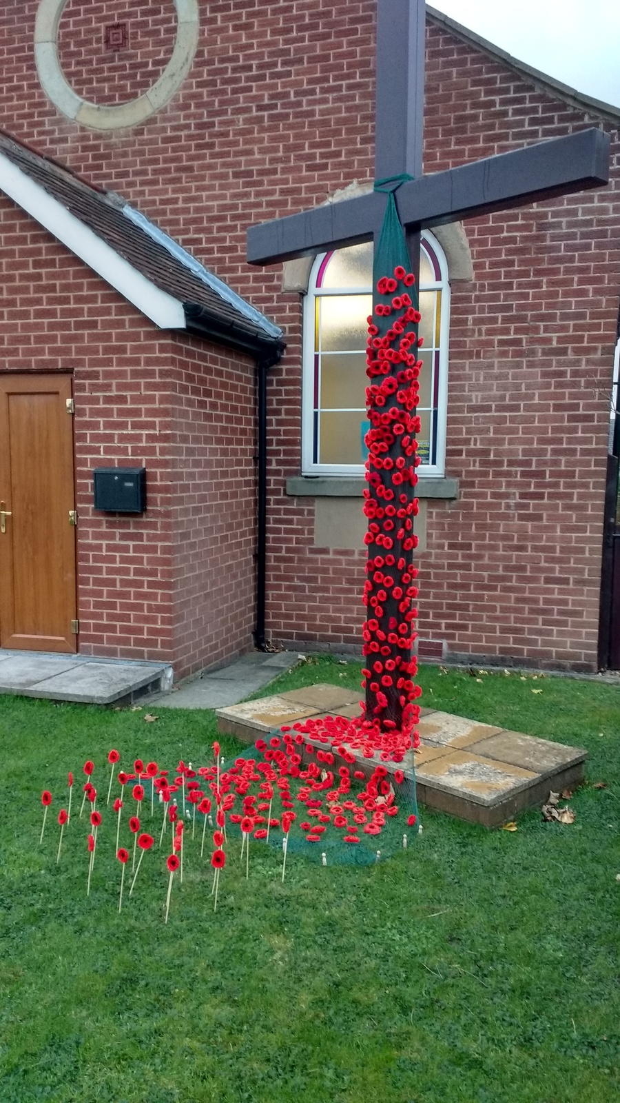 Hand-knitted poppies on display over Remembrance Weekend 2017