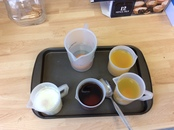 Teeth experiment - we put eggs (in place of teeth) in different drinks to see how they affect our teeth..JPG