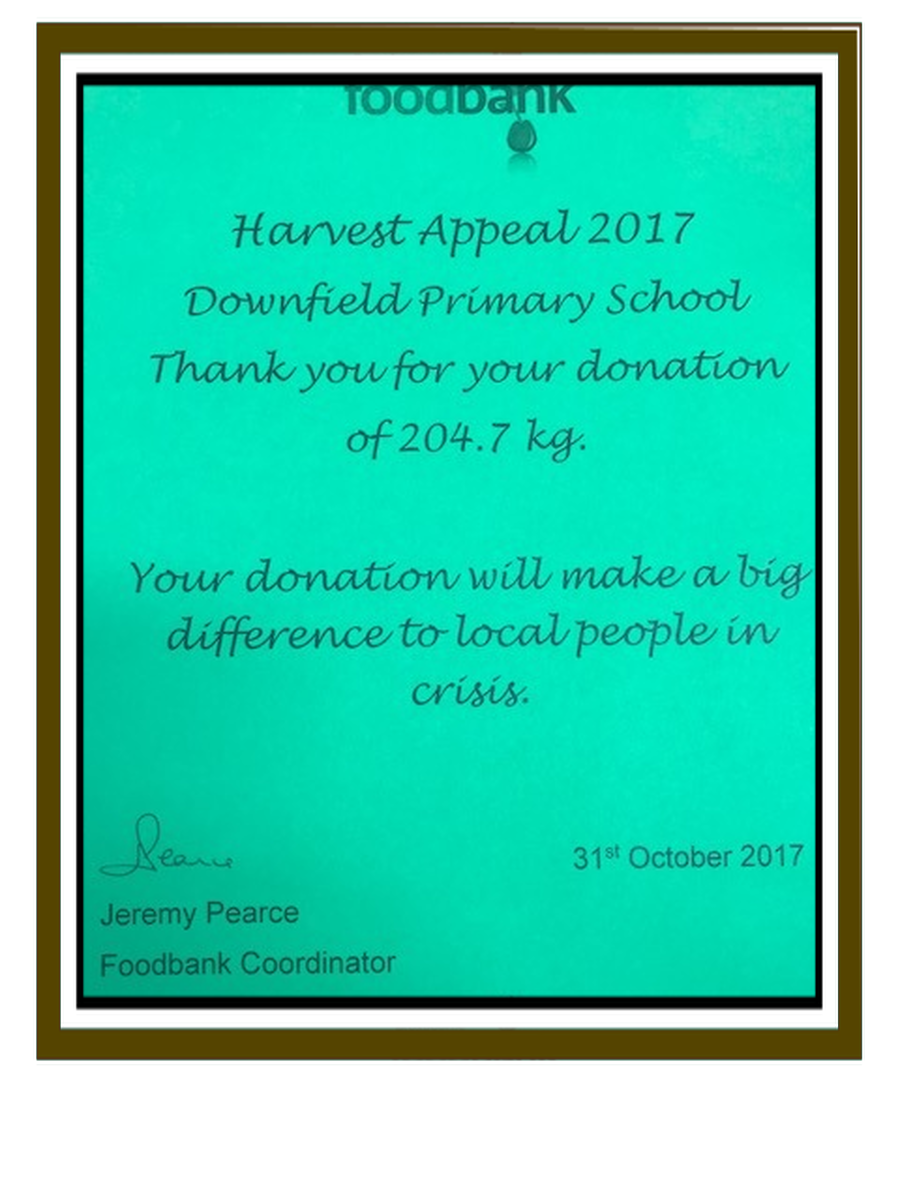 Thank you to all who donated food at Harvest Festival. We have received this!