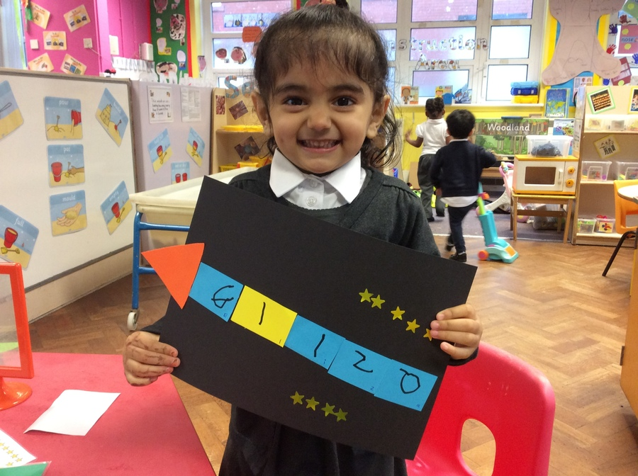 We have been practising writing our names and made name rocket pictures