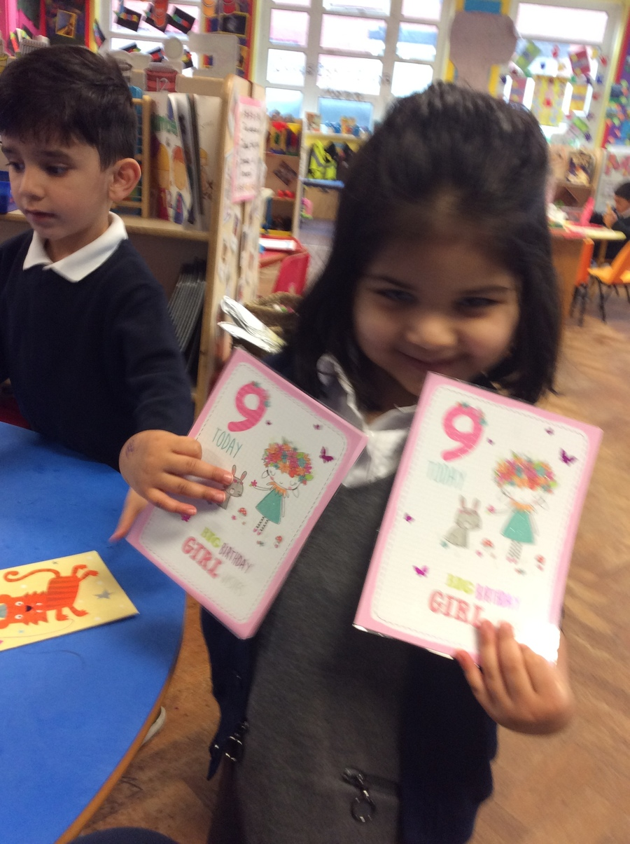 Matching numerals on birthday cards.