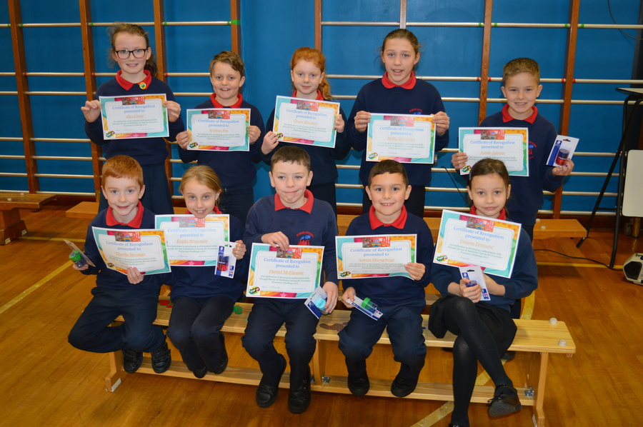 A big thank you to the P.T.F.A. for funding 'Mathletics'.  The photograph shows our top ten in the Mathletics November 2017 Challenge.