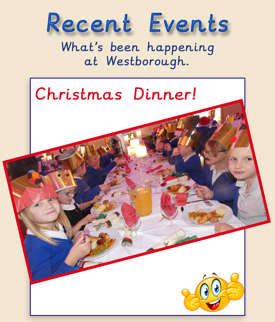Year 5 and Year 2 enjoy Christmas Dinner.