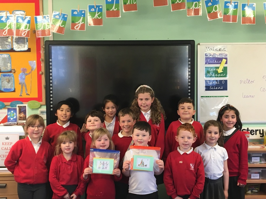School Council with Christmas cards for patients at Airedale Hospital