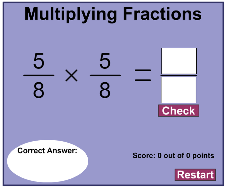 Click to play  multiplying fractions