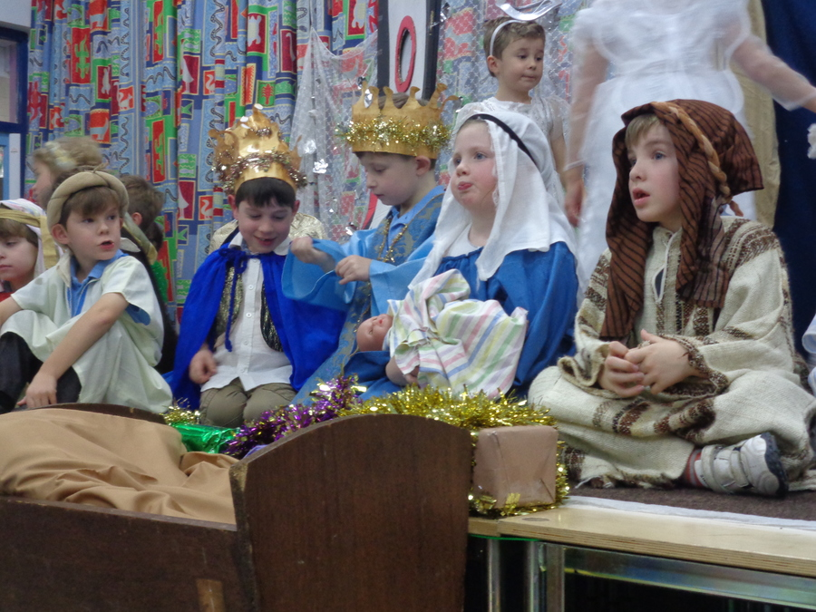 They found Mary, Joseph and Baby Jesus. King of all the world.