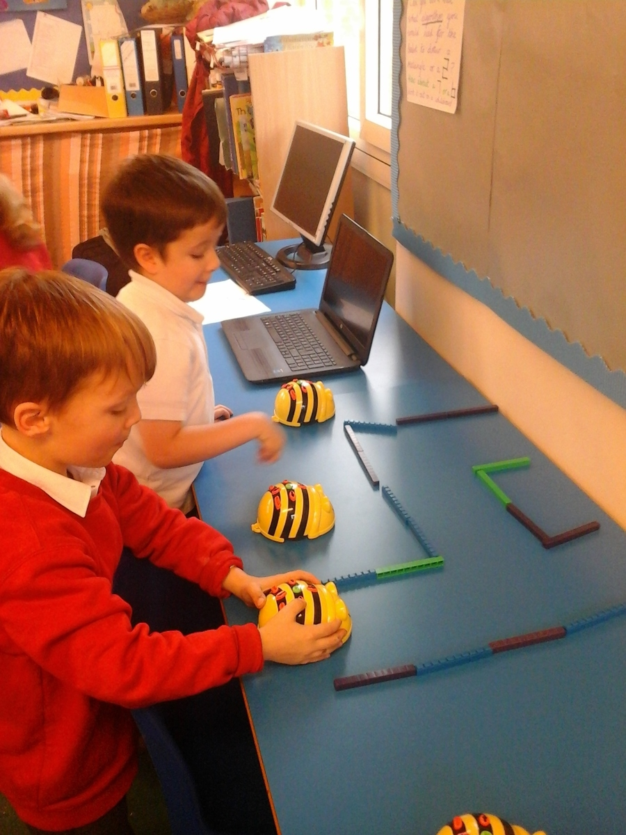 The boys worked out the code for the Beebots to get around the maze.
