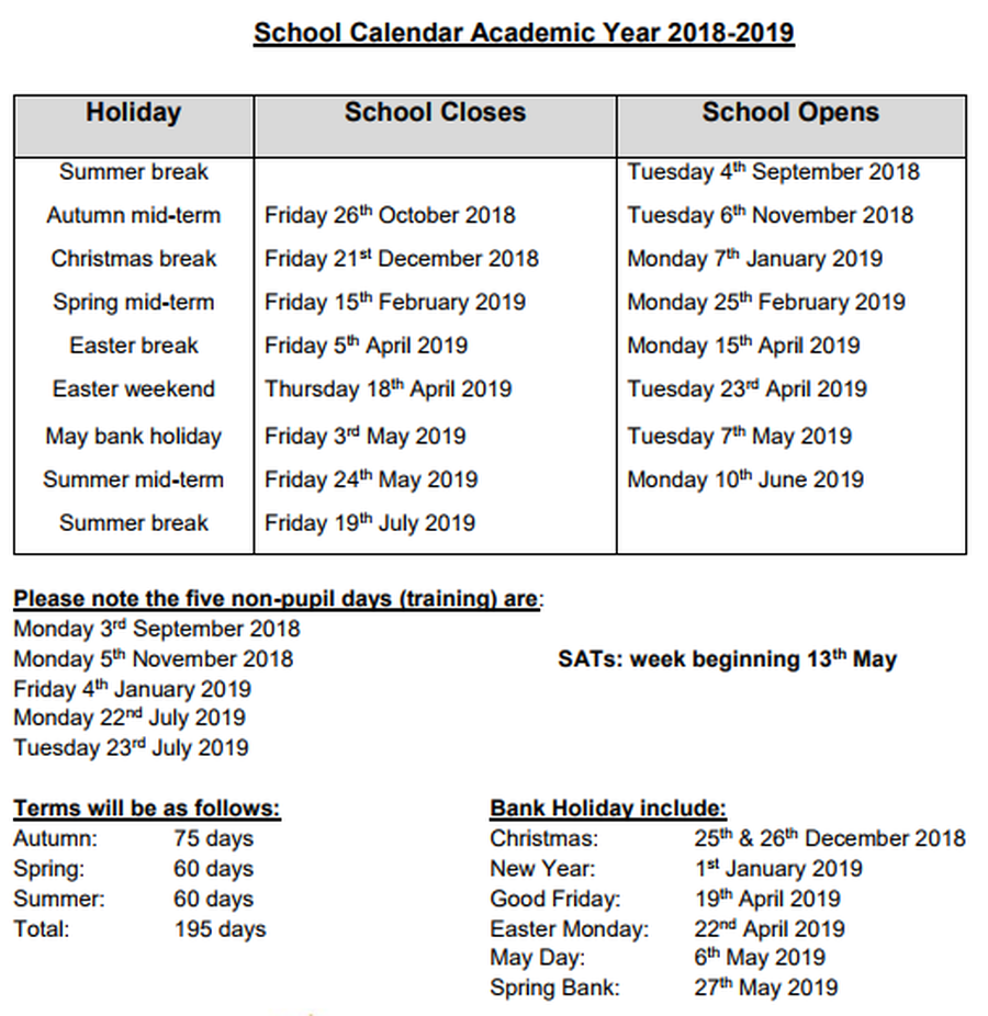 Our Lady Of Good Counsel Catholic Primary School - Term Dates