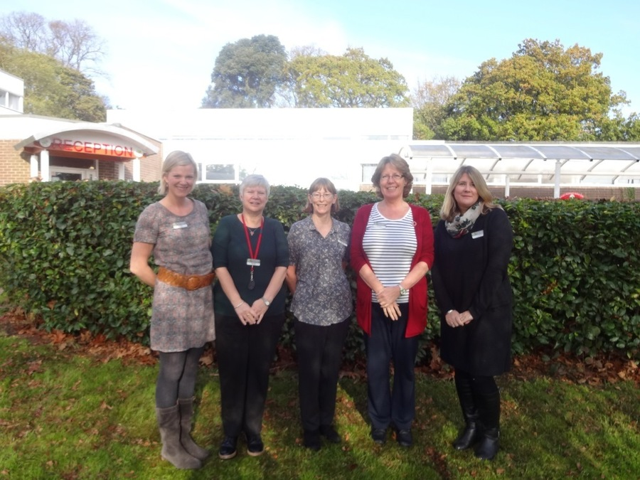 From left to right:  Mrs Milne, Mrs Amos, Miss Ekless, Mrs Peach, Mrs Glasspool