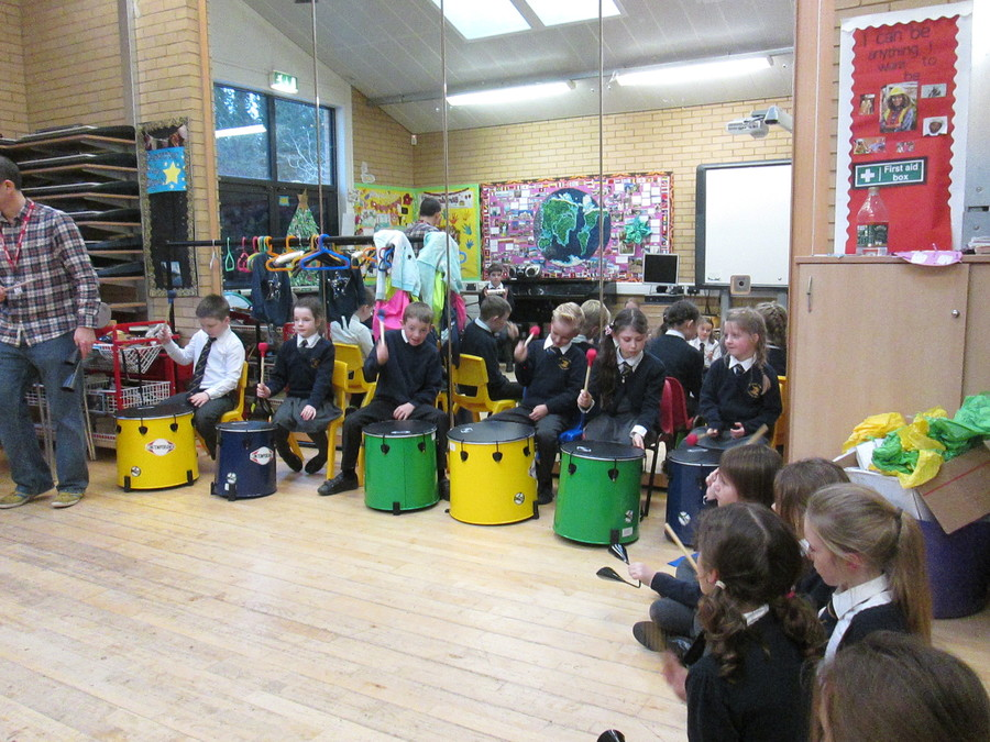 For music this term the children will be doing Samba classes.  The children really enjoyed their first session, but what's not to like about banging drums for an hour!
