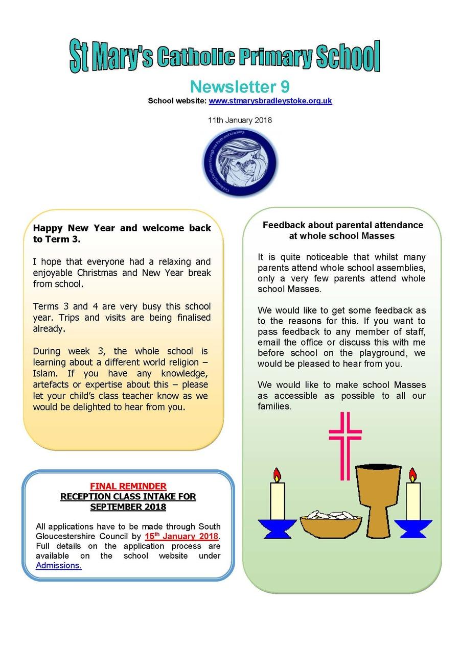 Newsletter 9 - 11.01.18