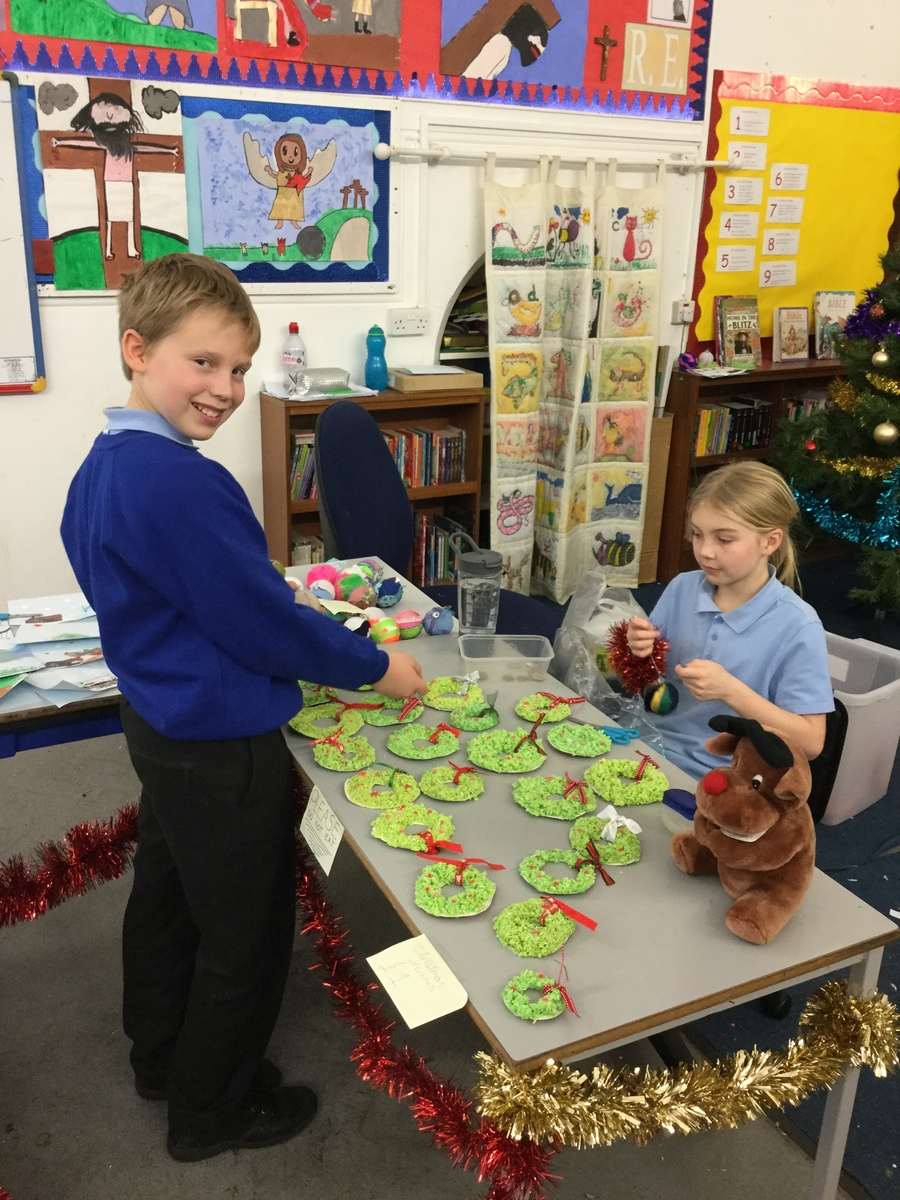 Making Christmas Decorations to sell at the Winter Stalls