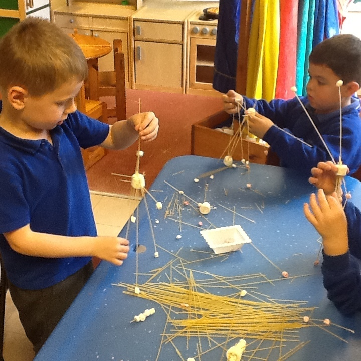 spaghetti tower with marshmallows