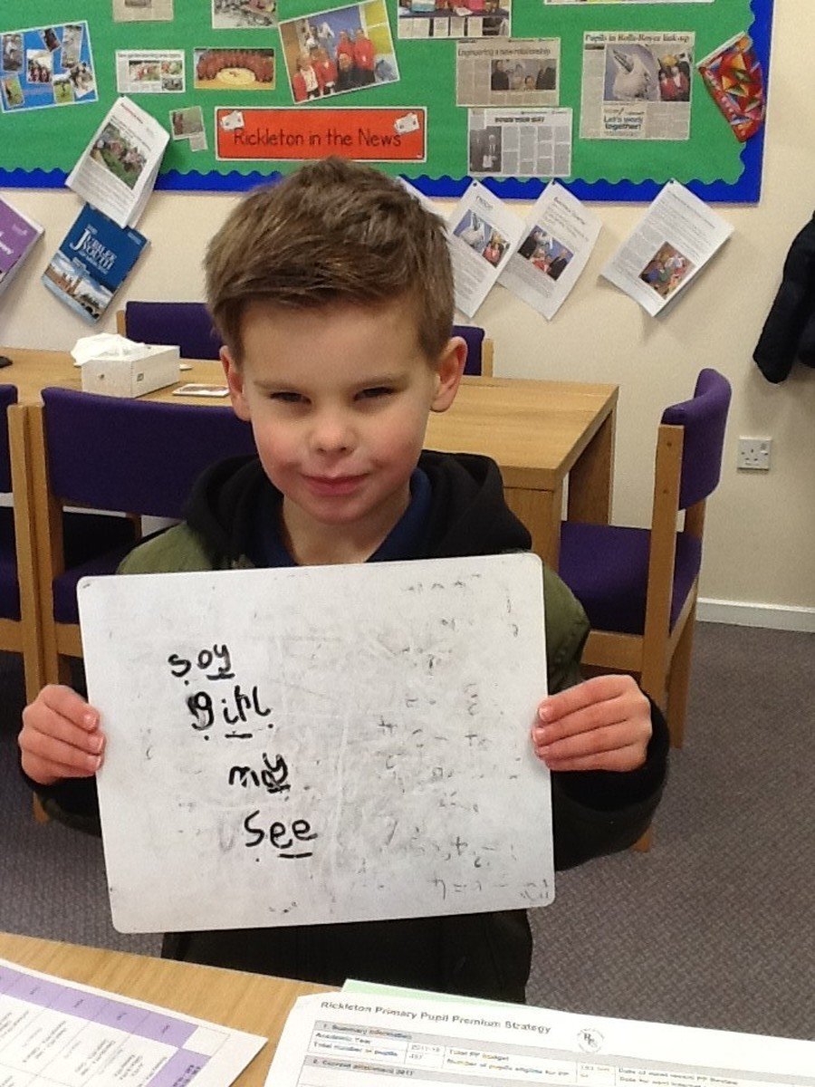 Jack has been working really hard during phonics and has been practising his new sound '-oy'.  Well done Jack!
