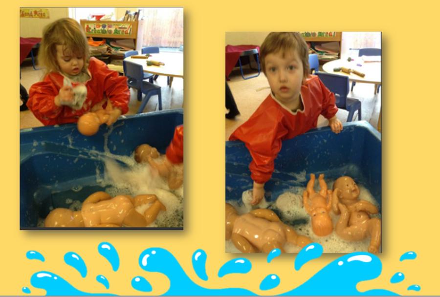 Keeping our babies clean is very hard work....