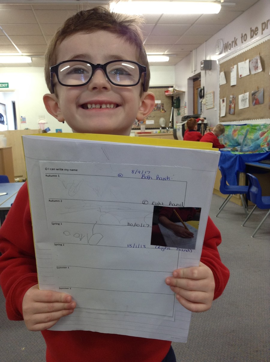 David has been workng hard at learning to spell his name.  Well done David!