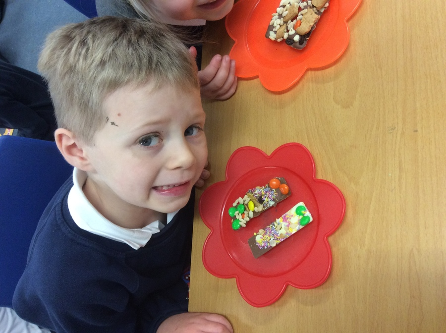 We designed and made our own chocolate bars in DT. We had to test them too of course!